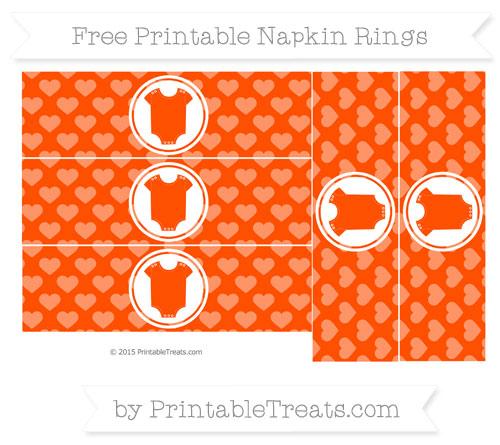 Free Orange Heart Pattern Baby Onesie Napkin Rings