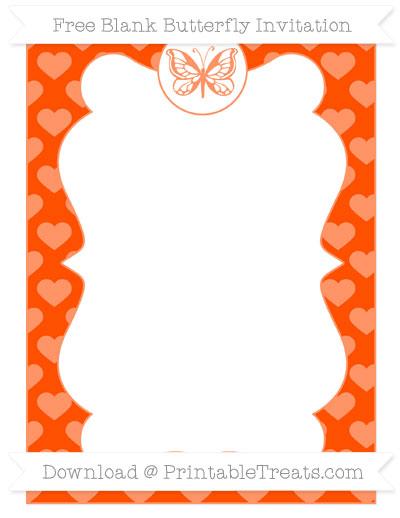 Free Orange Heart Pattern Blank Butterfly Invitation