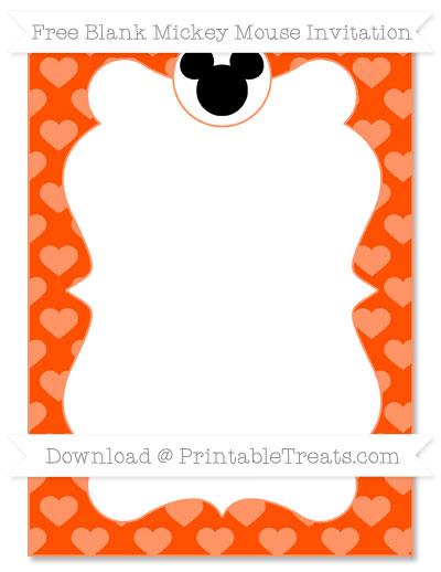 Free Orange Heart Pattern Blank Mickey Mouse Invitation