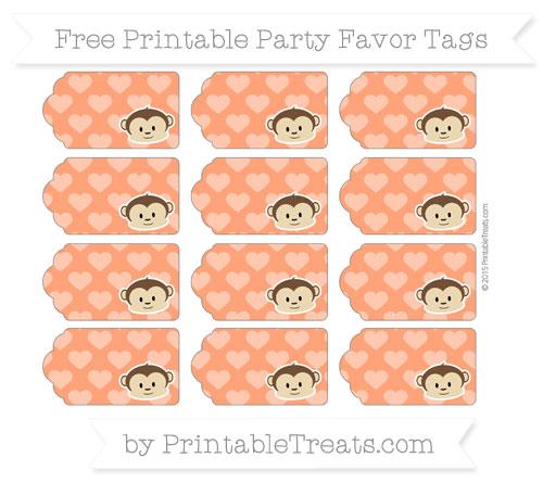 Free Orange Heart Pattern Boy Monkey Party Favor Tags