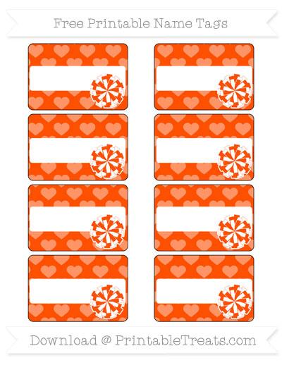 Free Orange Heart Pattern Cheer Pom Pom Tags