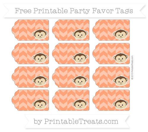 Free Orange Herringbone Pattern Boy Monkey Party Favor Tags