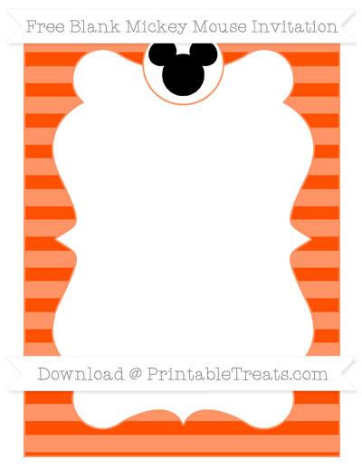 Free Orange Horizontal Striped Blank Mickey Mouse Invitation