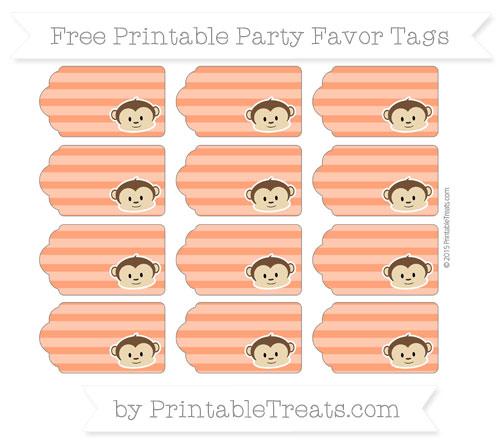 Free Orange Horizontal Striped Boy Monkey Party Favor Tags