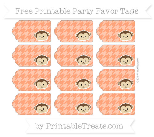 Free Orange Houndstooth Pattern Boy Monkey Party Favor Tags