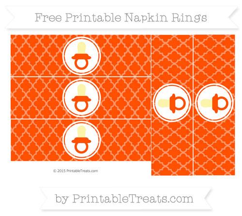 Free Orange Moroccan Tile Baby Pacifier Napkin Rings