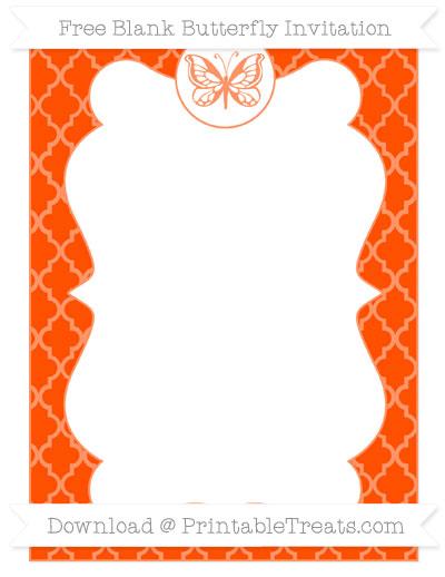 Free Orange Moroccan Tile Blank Butterfly Invitation