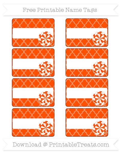 Free Orange Moroccan Tile Cheer Pom Pom Tags