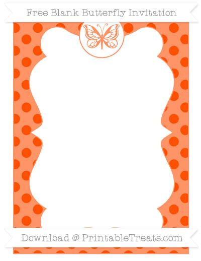 Free Orange Polka Dot Blank Butterfly Invitation