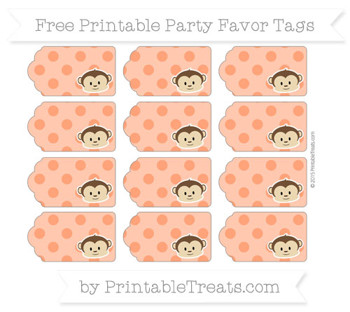 Free Orange Polka Dot Boy Monkey Party Favor Tags
