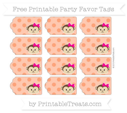 Free Orange Polka Dot Girl Monkey Party Favor Tags