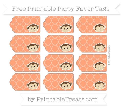 Free Orange Quatrefoil Pattern Boy Monkey Party Favor Tags