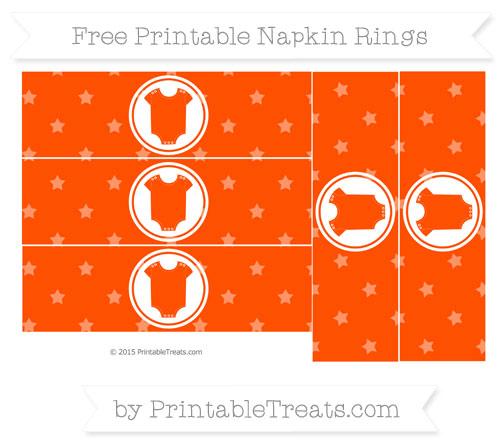 Free Orange Star Pattern Baby Onesie Napkin Rings