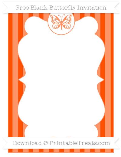 Free Orange Striped Blank Butterfly Invitation