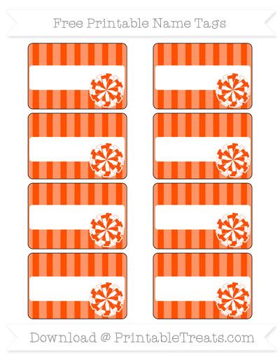 Free Orange Striped Cheer Pom Pom Tags
