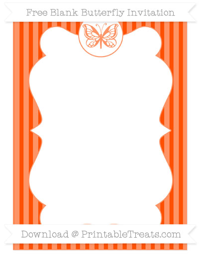 Free Orange Thin Striped Pattern Blank Butterfly Invitation