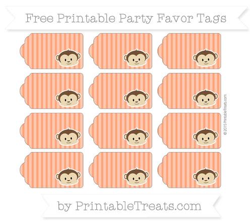 Free Orange Thin Striped Pattern Boy Monkey Party Favor Tags