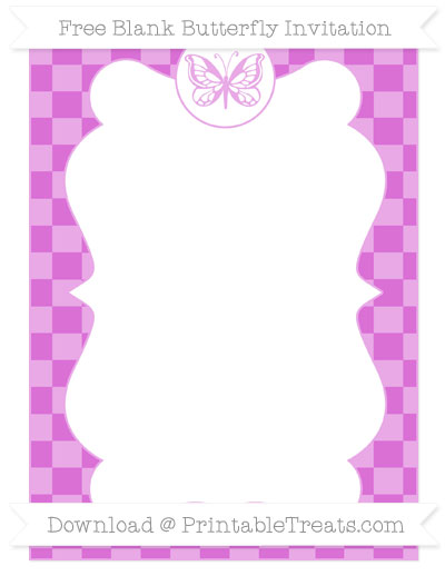 Free Orchid Checker Pattern Blank Butterfly Invitation