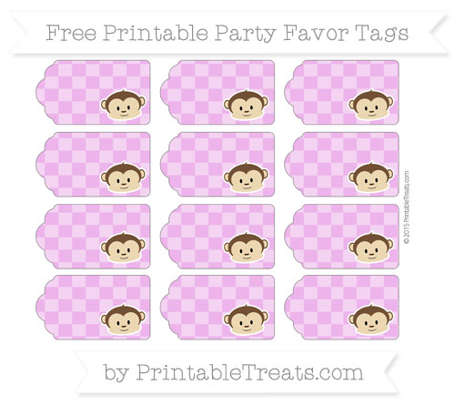 Free Orchid Checker Pattern Boy Monkey Party Favor Tags