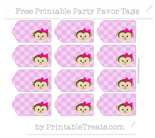 Free Orchid Checker Pattern Girl Monkey Party Favor Tags