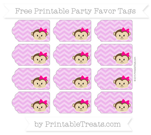 Free Orchid Chevron Girl Monkey Party Favor Tags