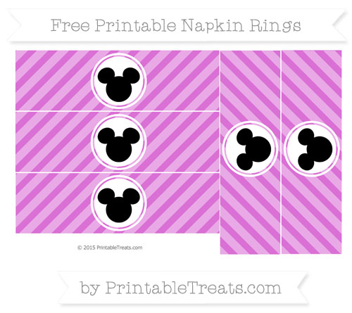 Free Orchid Diagonal Striped Mickey Mouse Napkin Rings