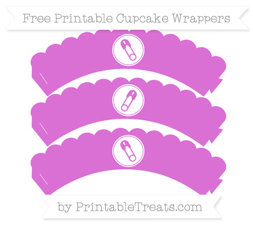 Free Orchid Diaper Pin Scalloped Cupcake Wrappers