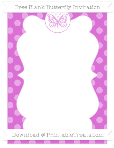 Free Orchid Dotted Pattern Blank Butterfly Invitation