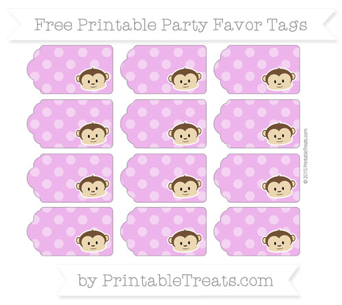Free Orchid Dotted Pattern Boy Monkey Party Favor Tags