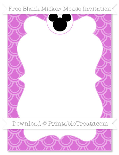 Free Orchid Fish Scale Pattern Blank Mickey Mouse Invitation