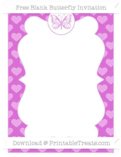 Free Orchid Heart Pattern Blank Butterfly Invitation