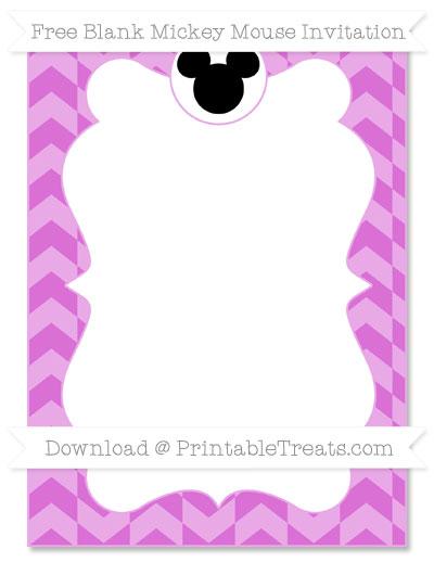 Free Orchid Herringbone Pattern Blank Mickey Mouse Invitation