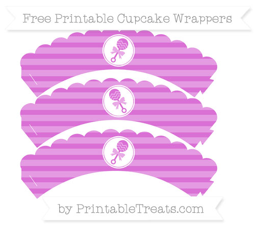 Free Orchid Horizontal Striped Baby Rattle Scalloped Cupcake Wrappers
