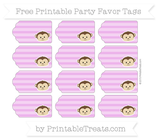 Free Orchid Horizontal Striped Boy Monkey Party Favor Tags