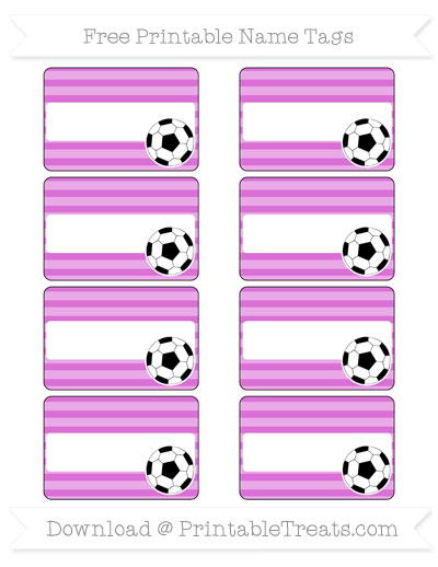 Free Orchid Horizontal Striped Soccer Name Tags
