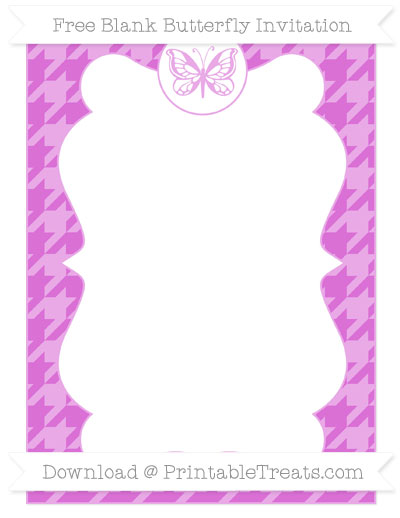 Free Orchid Houndstooth Pattern Blank Butterfly Invitation
