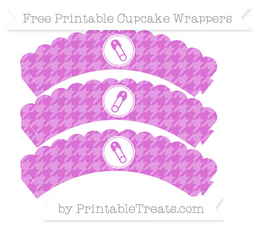 Free Orchid Houndstooth Pattern Diaper Pin Scalloped Cupcake Wrappers