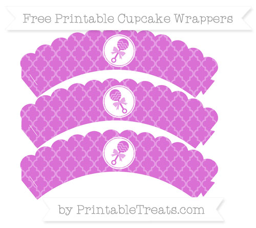 Free Orchid Moroccan Tile Baby Rattle Scalloped Cupcake Wrappers