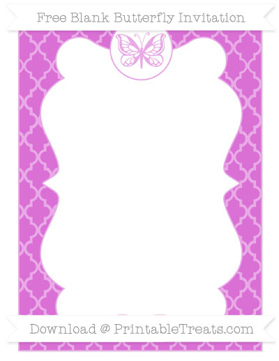 Free Orchid Moroccan Tile Blank Butterfly Invitation