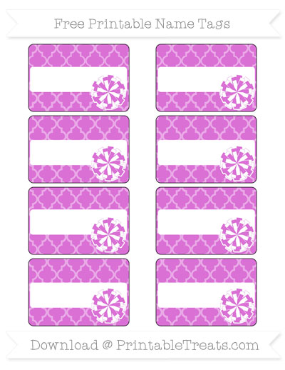 Free Orchid Moroccan Tile Cheer Pom Pom Tags