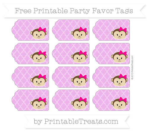 Free Orchid Moroccan Tile Girl Monkey Party Favor Tags