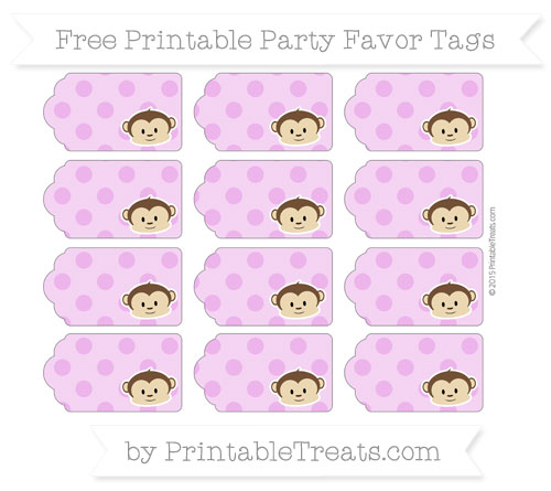 Free Orchid Polka Dot Boy Monkey Party Favor Tags