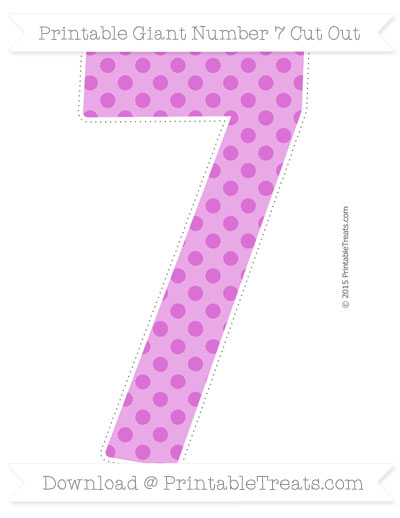 Free Orchid Polka Dot Giant Number 7 Cut Out