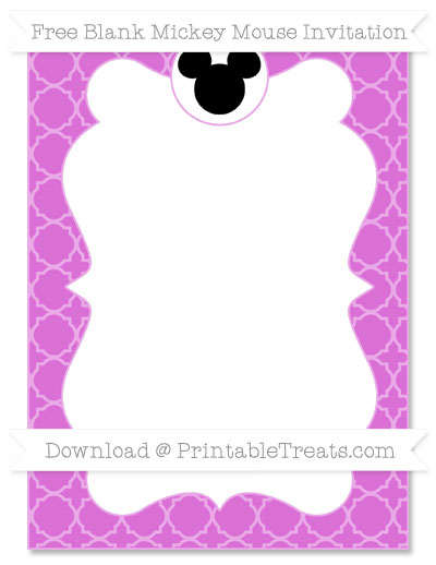 Free Orchid Quatrefoil Pattern Blank Mickey Mouse Invitation