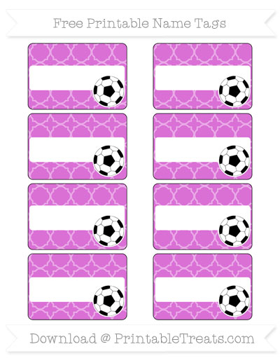 Free Orchid Quatrefoil Pattern Soccer Name Tags