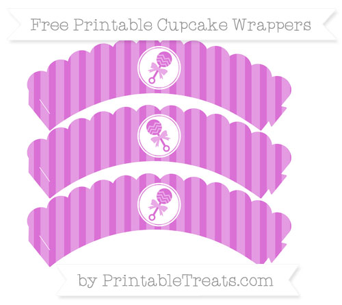 Free Orchid Striped Baby Rattle Scalloped Cupcake Wrappers