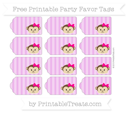 Free Orchid Striped Girl Monkey Party Favor Tags