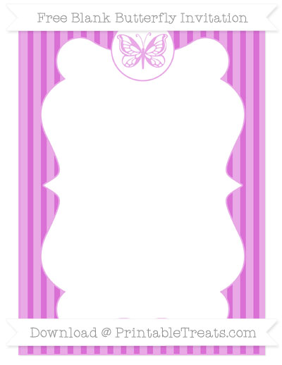 Free Orchid Thin Striped Pattern Blank Butterfly Invitation