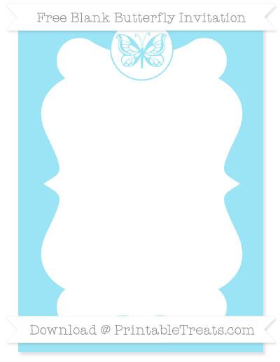 Free Pastel Aqua Blue Blank Butterfly Invitation