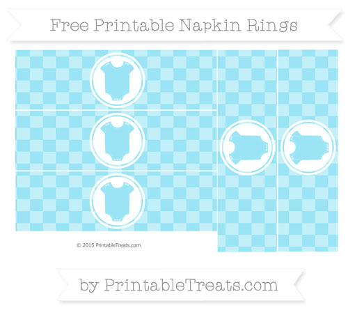 Free Pastel Aqua Blue Checker Pattern Baby Onesie Napkin Rings